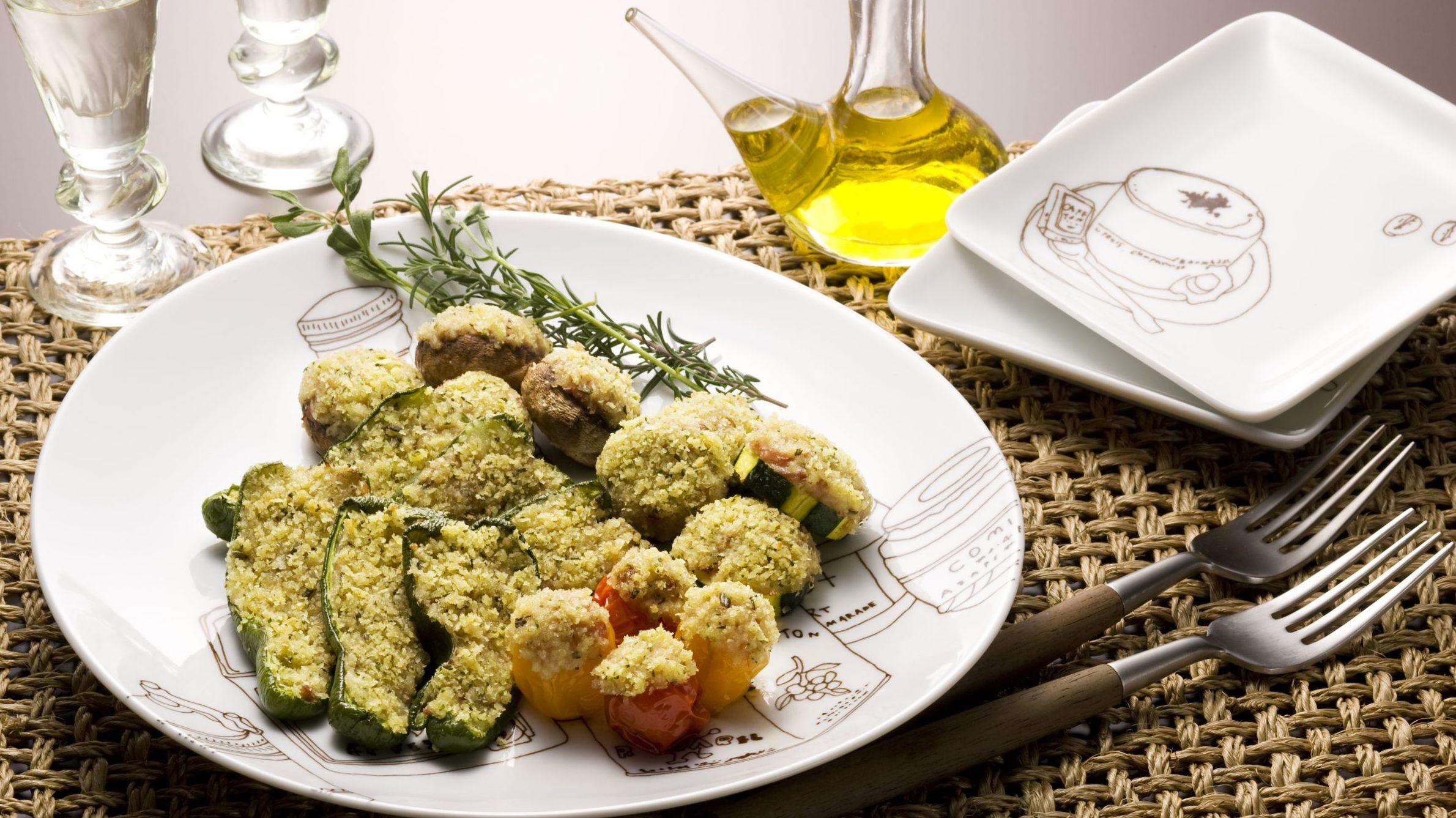 コンビーフと野菜の香草焼き